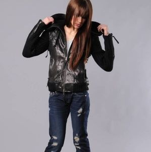 Elizabeth and James black Highland leather jacket